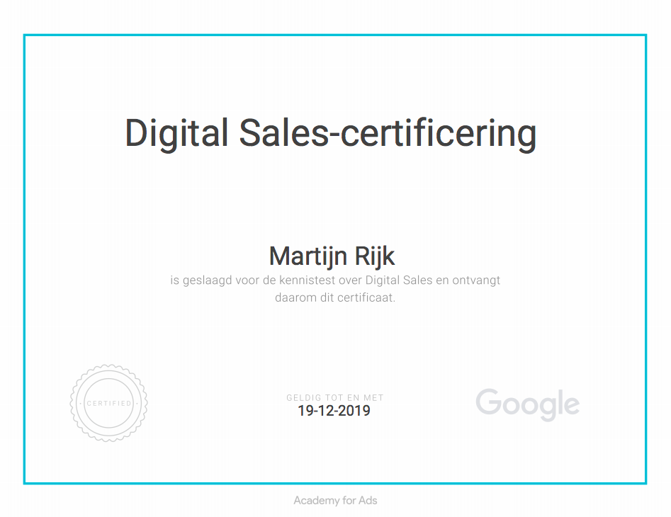 Google - Digital Sales Certificaat