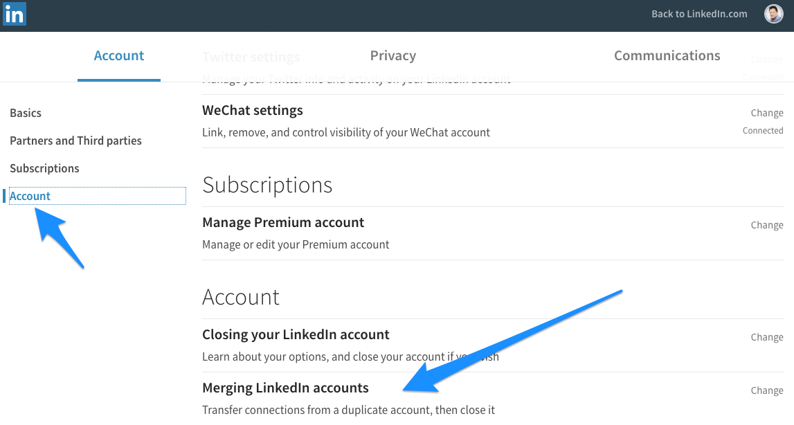 LinkedIn accounts samenvoegen