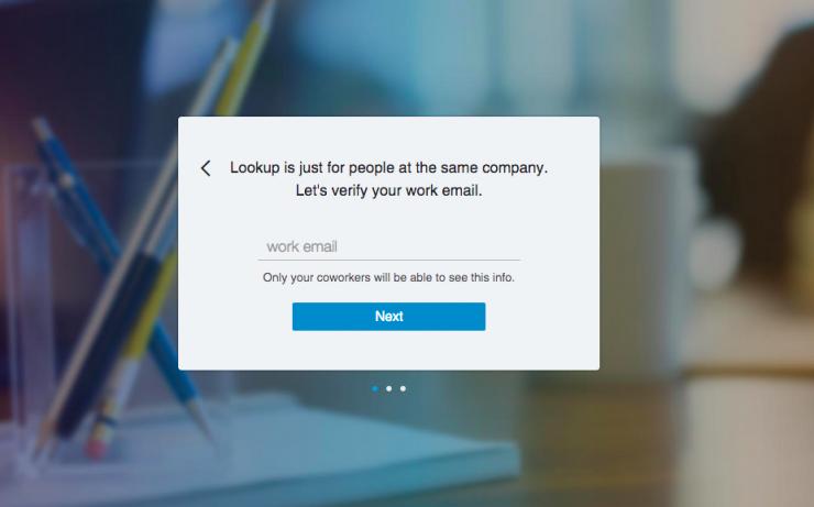Linkedin Lookup registratie scherm